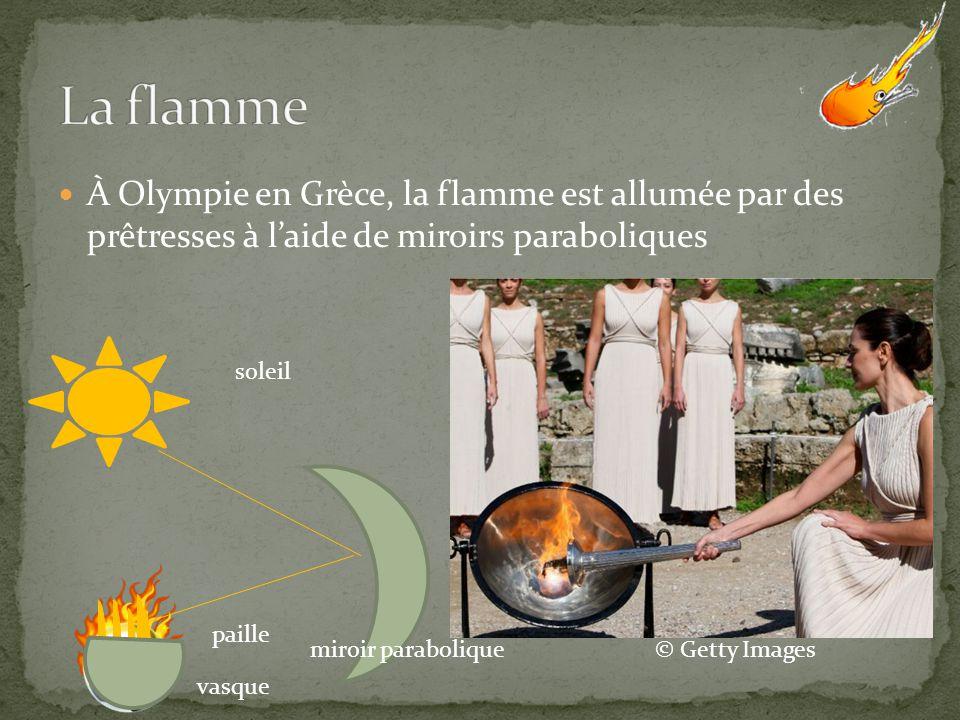 La flamme À Olympie en Grèce, la flamme est allumée par des prêtresses à l'aide de miroirs paraboliques.