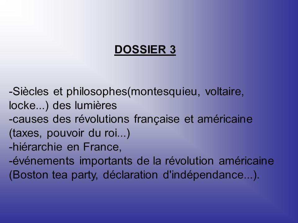 DOSSIER 3 -Siècles et philosophes(montesquieu, voltaire, locke...) des lumières.
