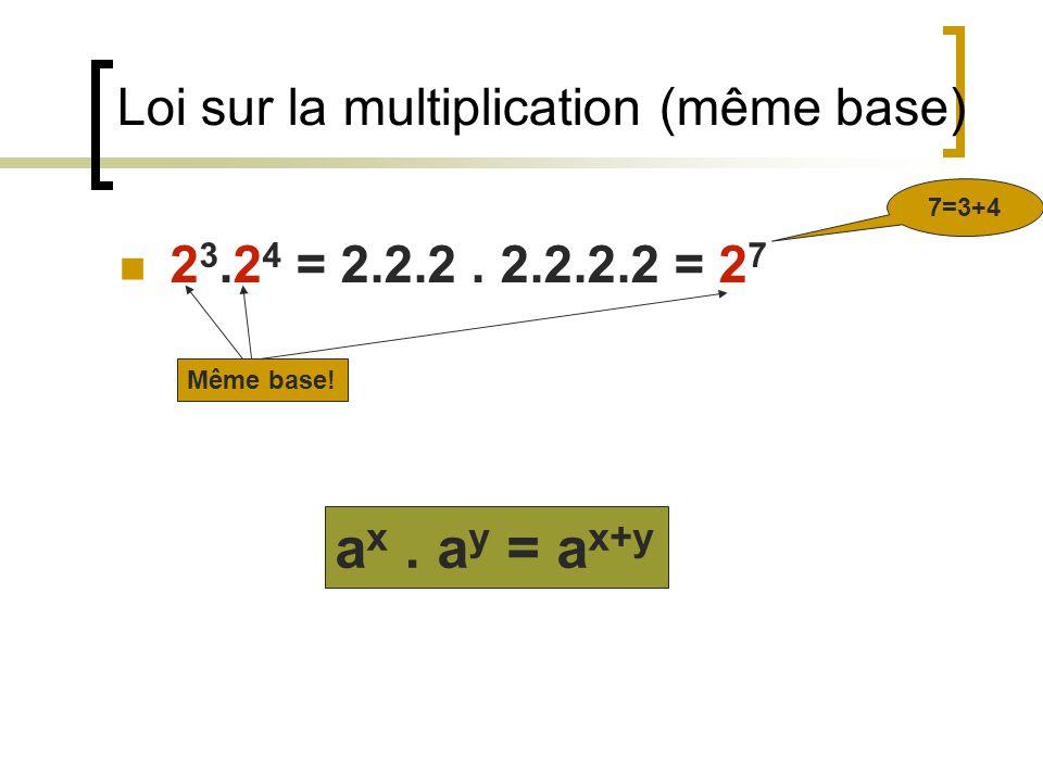 Loi sur la multiplication (même base)