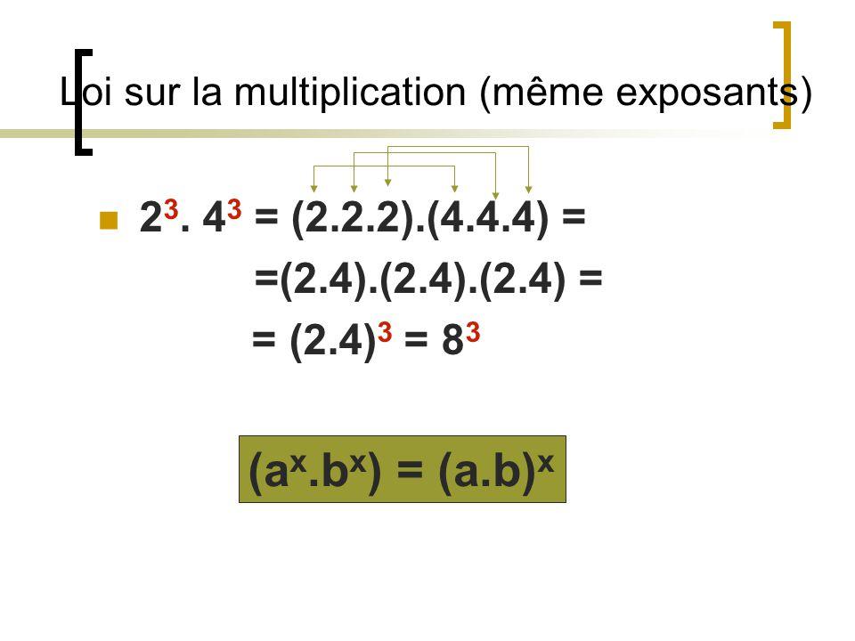 Loi sur la multiplication (même exposants)