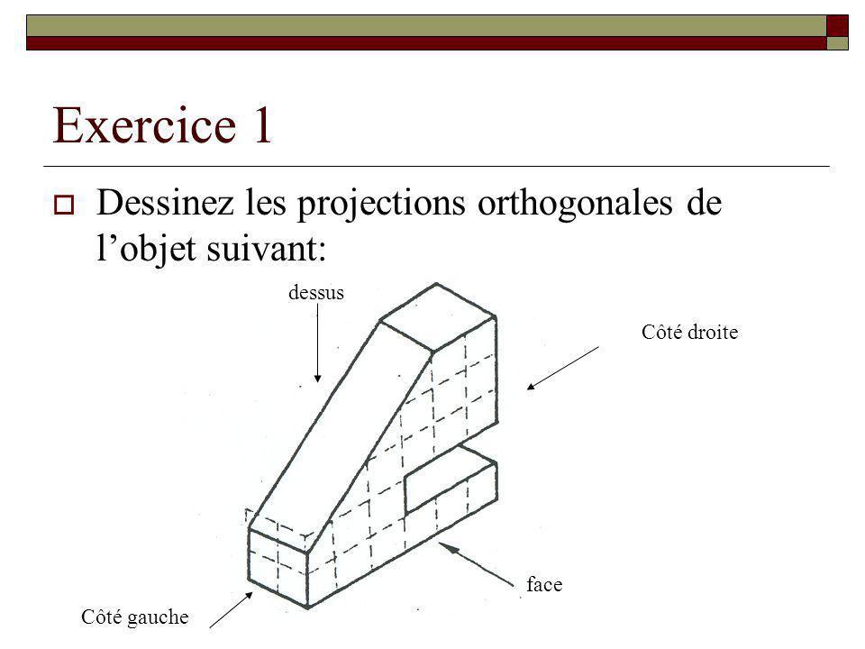 Exercice 1 Dessinez les projections orthogonales de l'objet suivant: