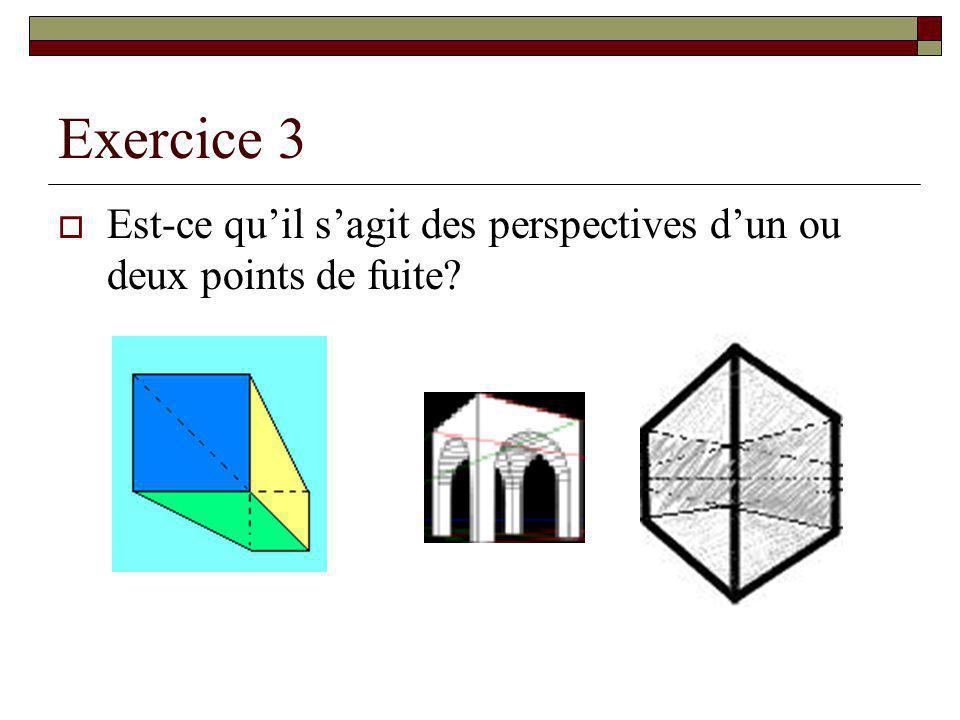 Exercice 3 Est-ce qu'il s'agit des perspectives d'un ou deux points de fuite