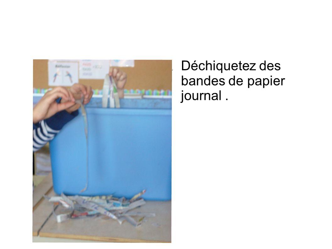 Déchiquetez des bandes de papier journal .