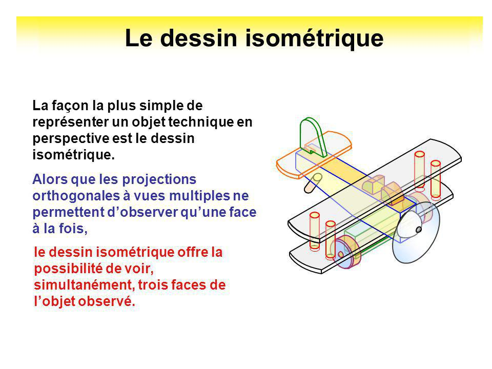 Le dessin isométrique La façon la plus simple de représenter un objet technique en perspective est le dessin isométrique.