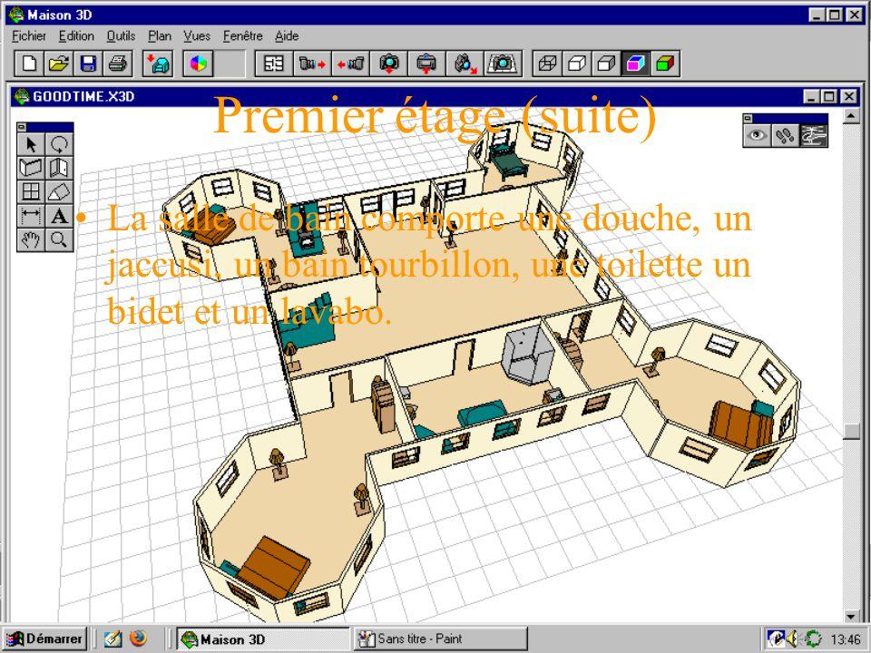 Premier étage (suite) La salle de bain comporte une douche, un jaccusi, un bain tourbillon, une toilette un bidet et un lavabo.