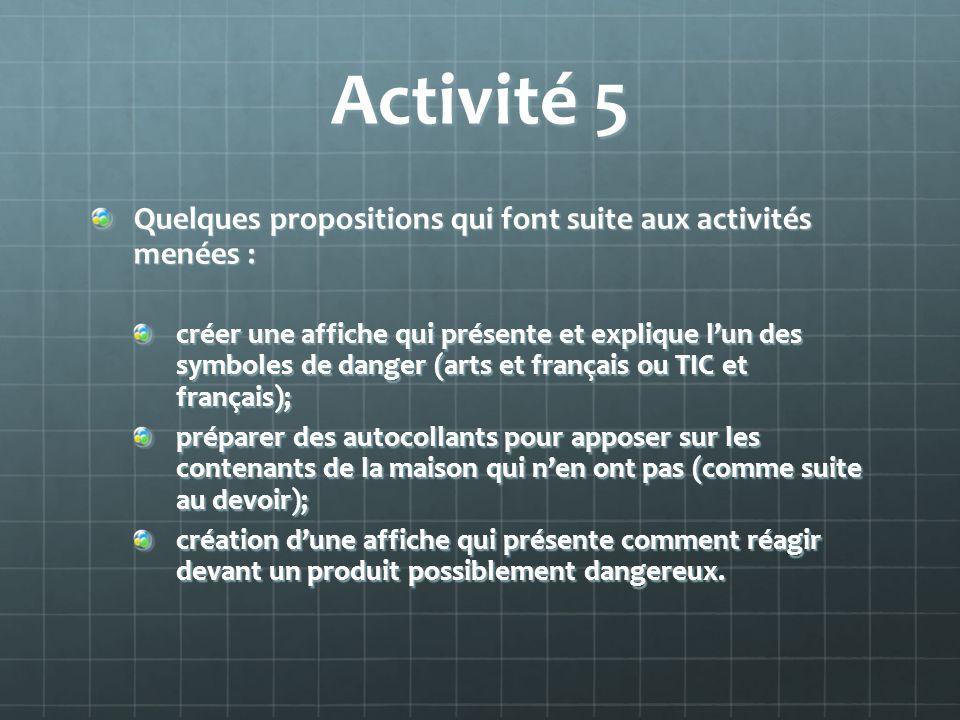 Activité 5 Quelques propositions qui font suite aux activités menées :
