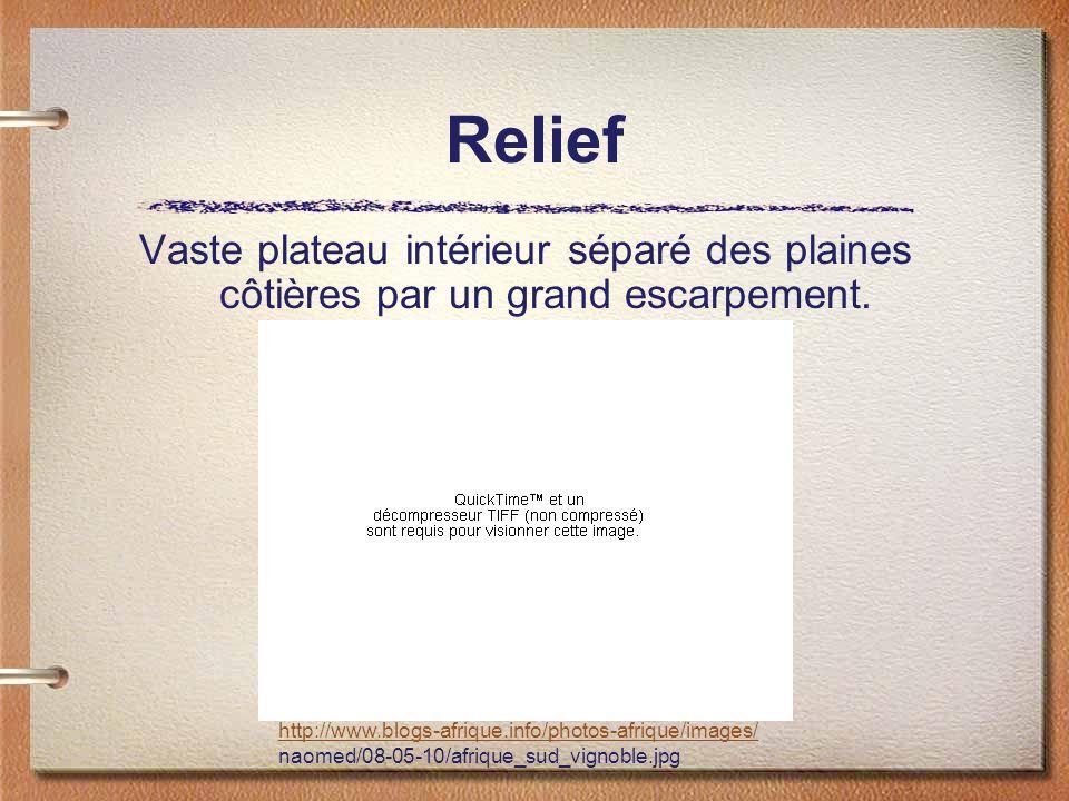 Relief Vaste plateau intérieur séparé des plaines côtières par un grand escarpement. http://www.blogs-afrique.info/photos-afrique/images/