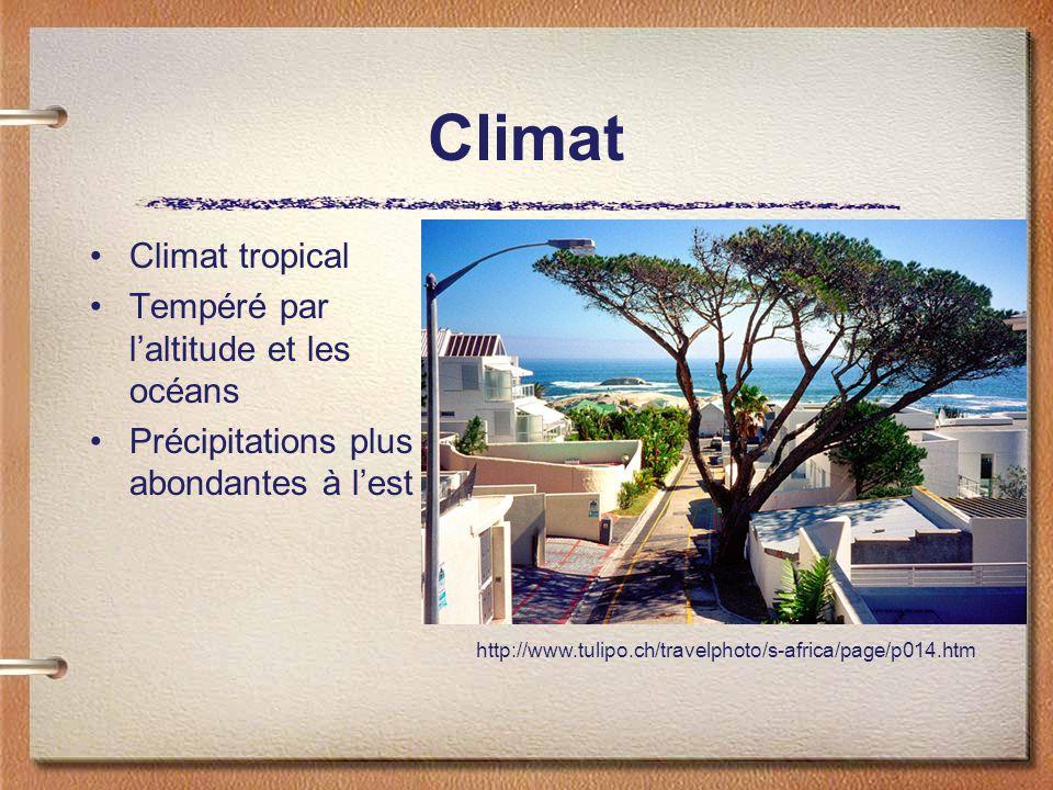 Climat Climat tropical Tempéré par l'altitude et les océans
