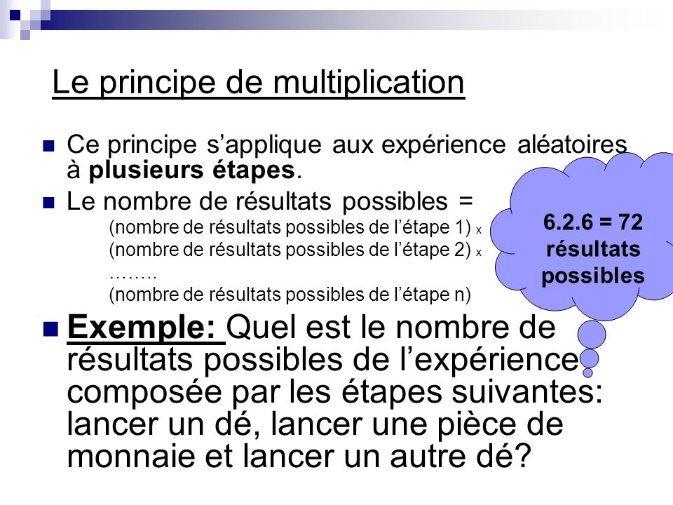 Le principe de multiplication