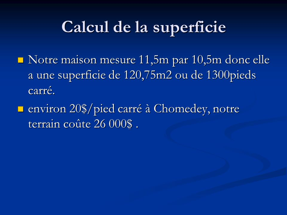 Calcul de la superficie