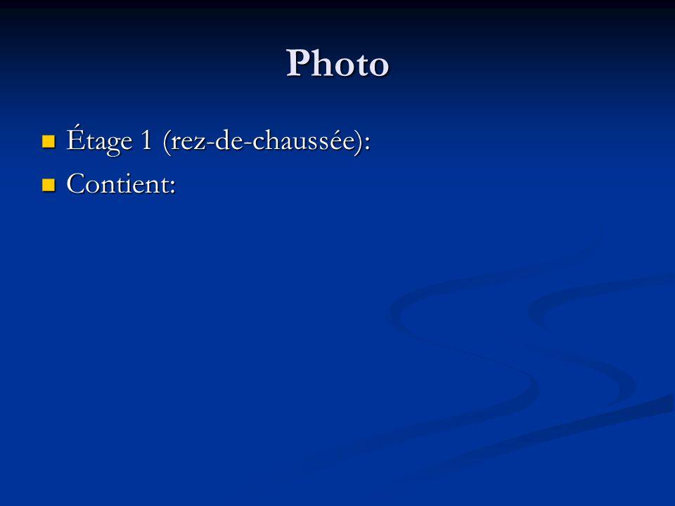 Photo Étage 1 (rez-de-chaussée): Contient: