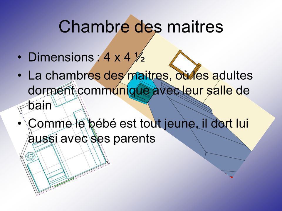 Chambre des maitres Dimensions : 4 x 4 ½