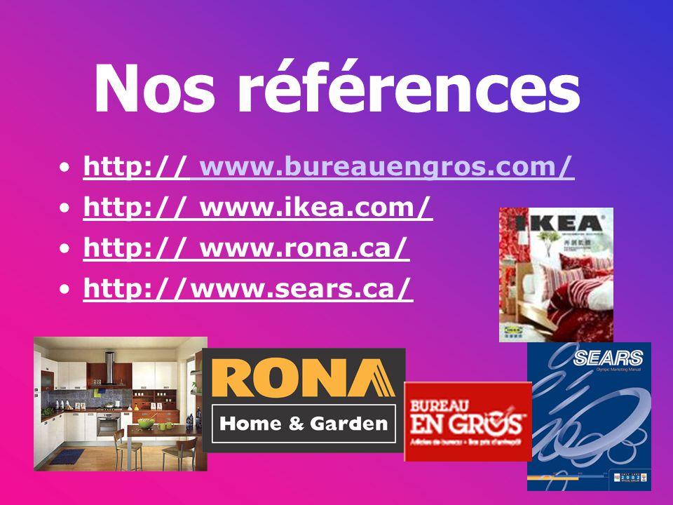 Nos références http:// www.bureauengros.com/ http:// www.ikea.com/