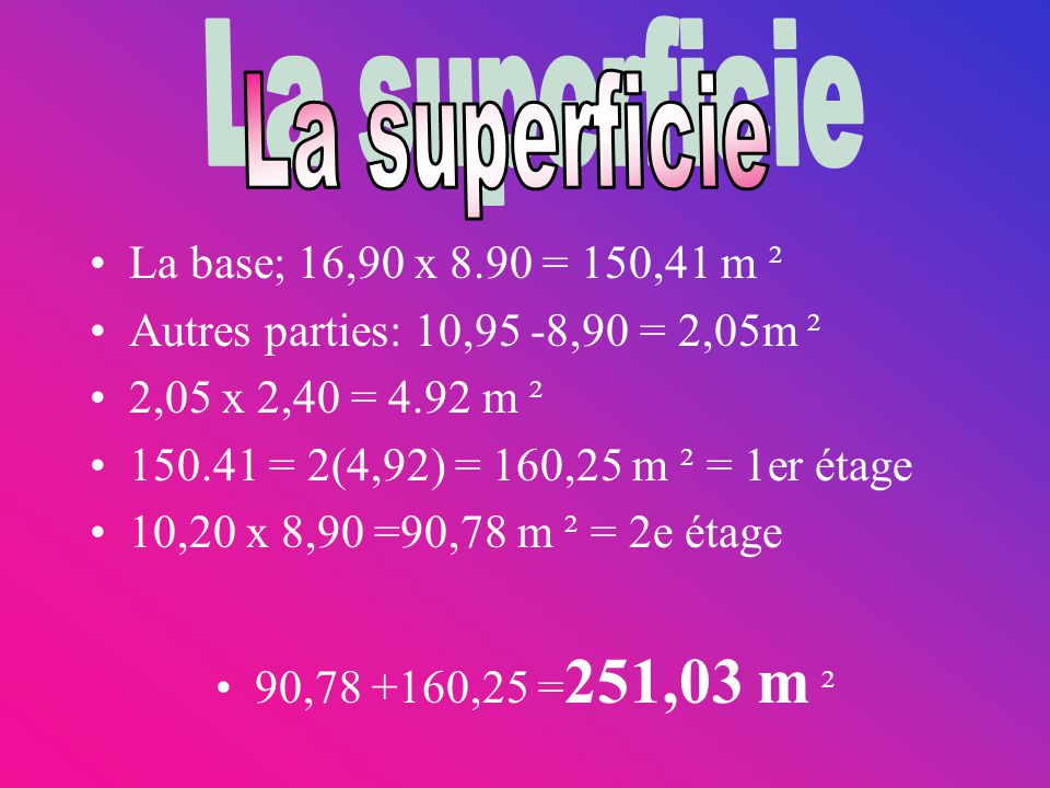 La superficie La base; 16,90 x 8.90 = 150,41 m ²