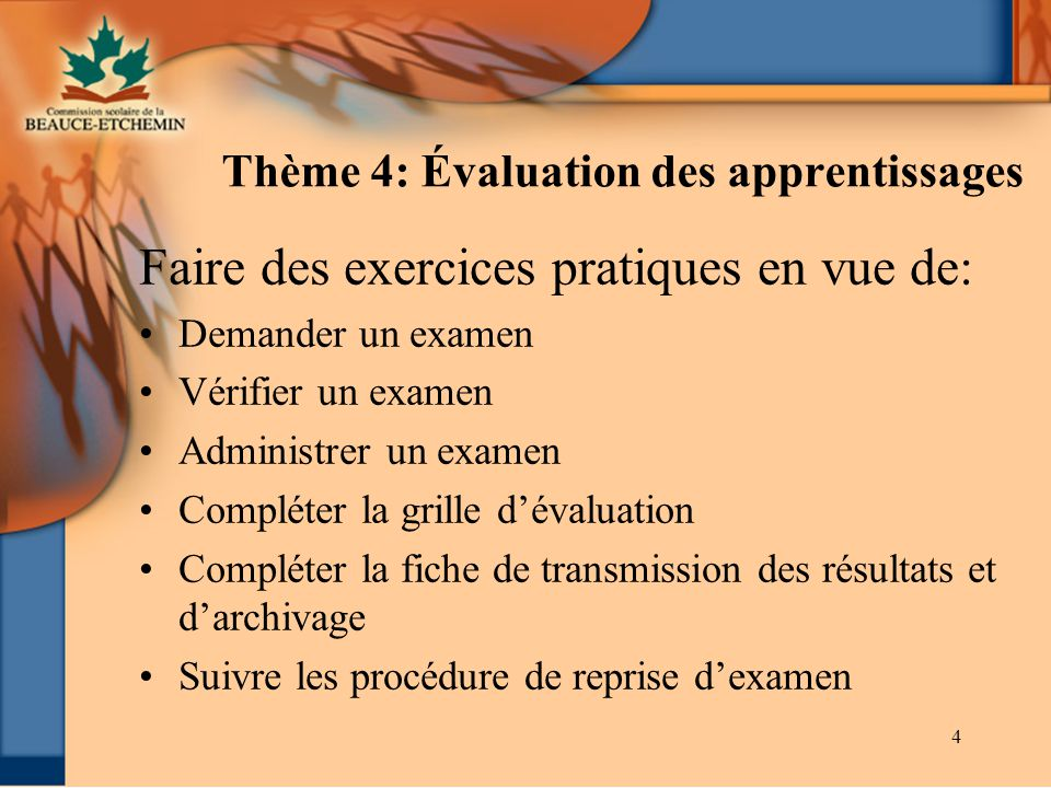 Thème 4: Évaluation des apprentissages