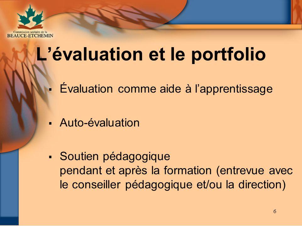 L'évaluation et le portfolio