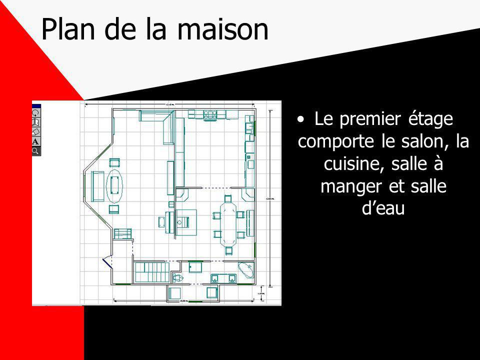 Plan de la maison Le premier étage comporte le salon, la cuisine, salle à manger et salle d'eau