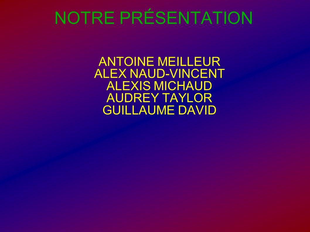 NOTRE PRÉSENTATION ANTOINE MEILLEUR ALEX NAUD-VINCENT ALEXIS MICHAUD