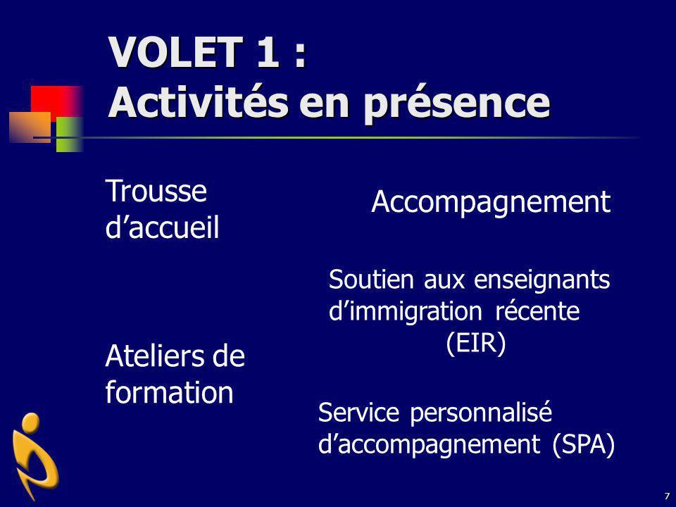 VOLET 1 : Activités en présence