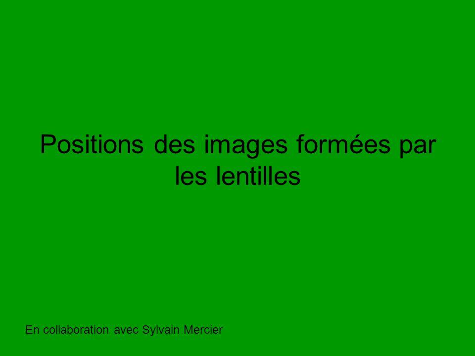Positions des images formées par les lentilles