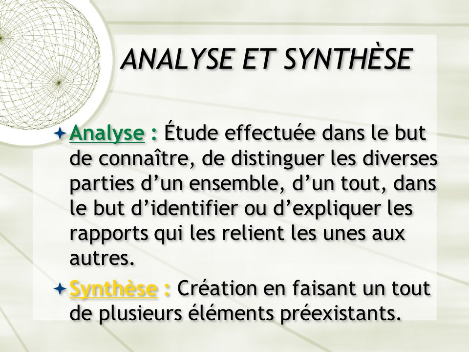 ANALYSE ET SYNTHÈSE