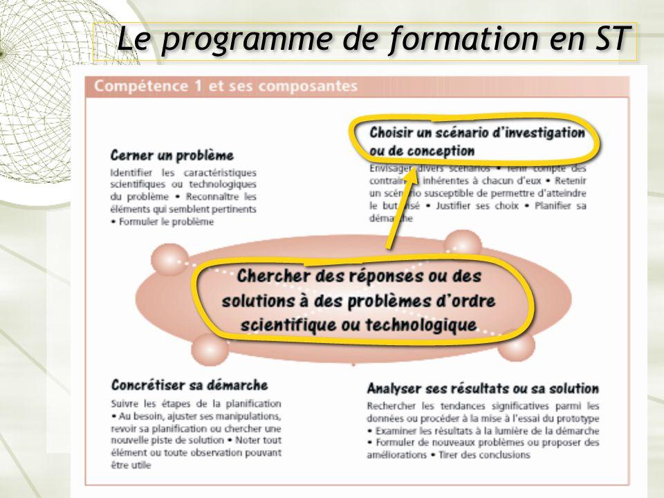 Le programme de formation en ST