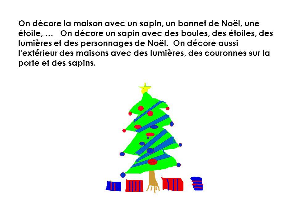 On décore la maison avec un sapin, un bonnet de Noël, une étoile, … On décore un sapin avec des boules, des étoiles, des lumières et des personnages de Noël.