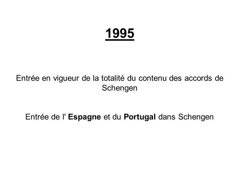 1995 Entrée en vigueur de la totalité du contenu des accords de Schengen.