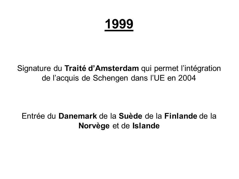 1999 Signature du Traité d'Amsterdam qui permet l'intégration de l'acquis de Schengen dans l'UE en 2004.