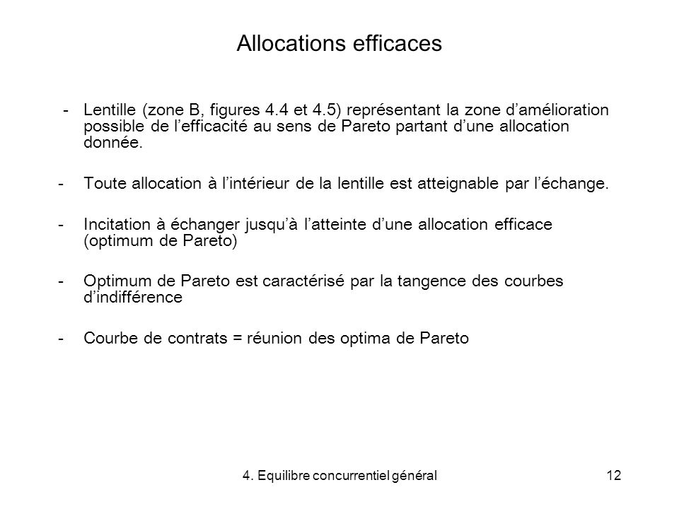 Allocations efficaces