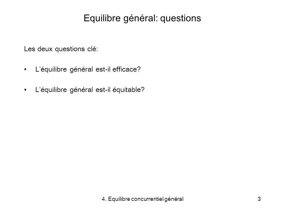 Equilibre général: questions