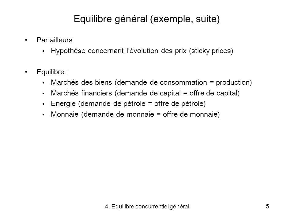 Equilibre général (exemple, suite)