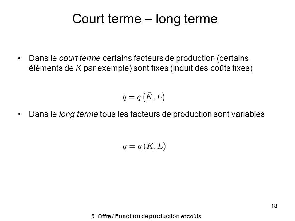 Court terme – long terme