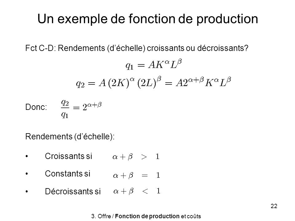 Un exemple de fonction de production
