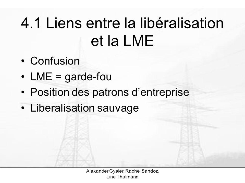 4.1 Liens entre la libéralisation et la LME