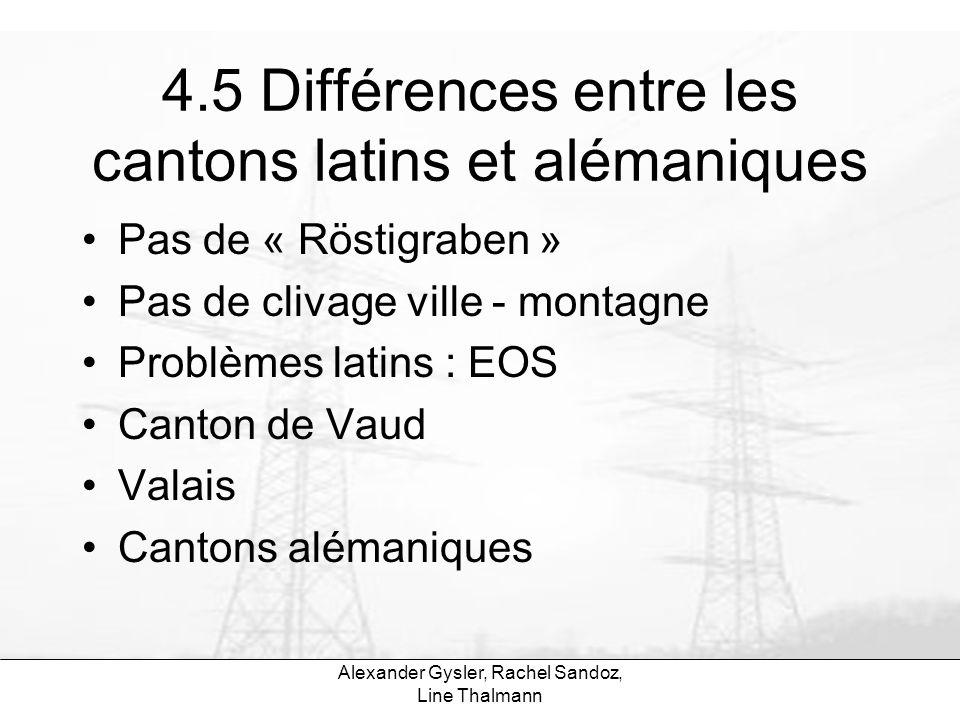 4.5 Différences entre les cantons latins et alémaniques