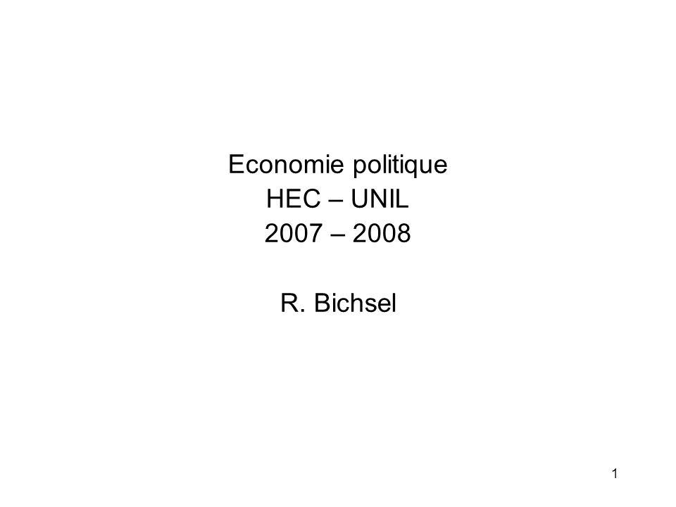 Economie politique HEC – UNIL 2007 – 2008 R. Bichsel