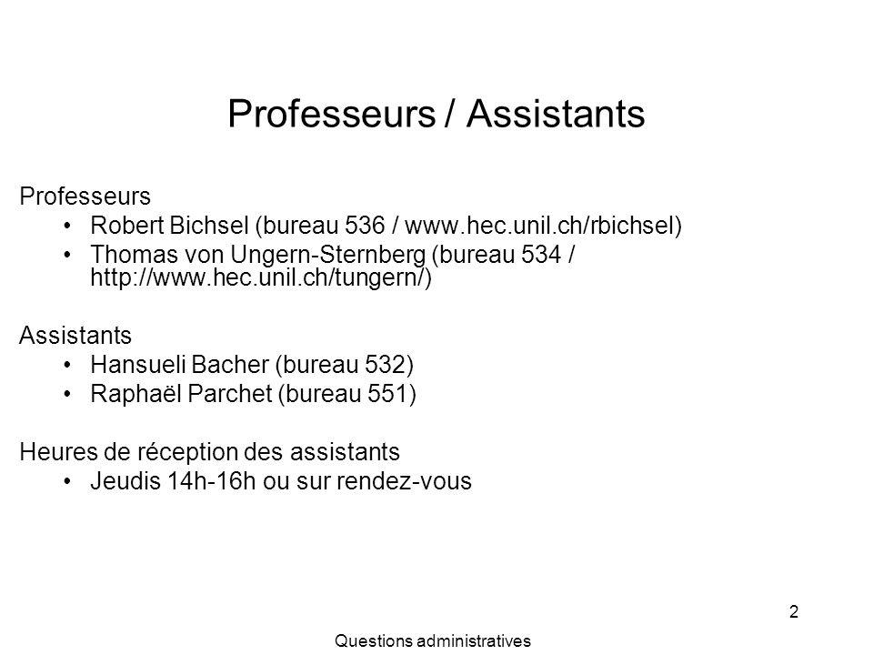 Professeurs / Assistants