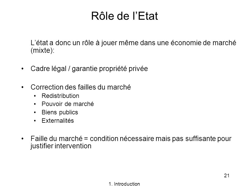 Rôle de l'Etat L'état a donc un rôle à jouer même dans une économie de marché (mixte): Cadre légal / garantie propriété privée.
