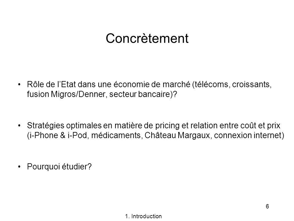Concrètement Rôle de l'Etat dans une économie de marché (télécoms, croissants, fusion Migros/Denner, secteur bancaire)