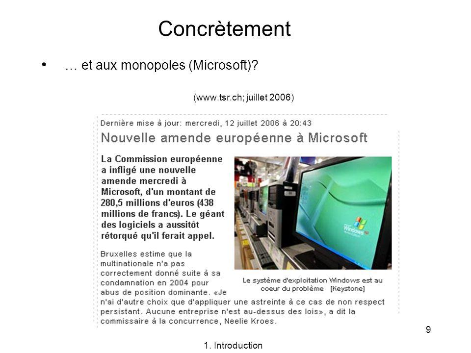 … et aux monopoles (Microsoft) (www.tsr.ch; juillet 2006)