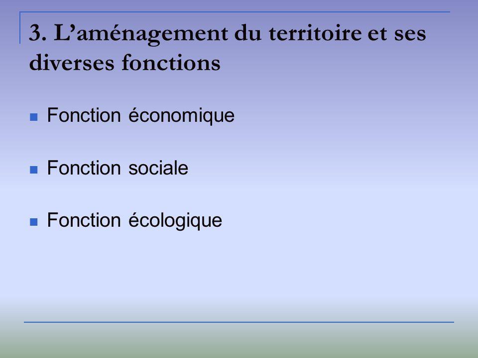 3. L'aménagement du territoire et ses diverses fonctions