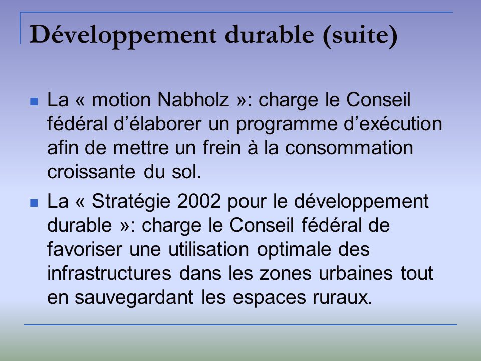 Développement durable (suite)