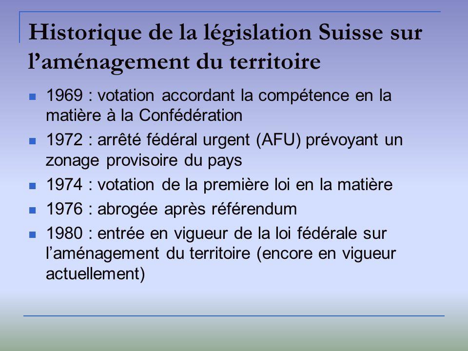 Historique de la législation Suisse sur l'aménagement du territoire
