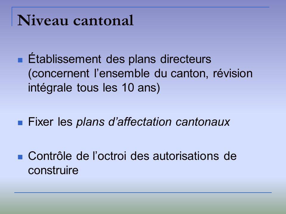 Niveau cantonal Établissement des plans directeurs (concernent l'ensemble du canton, révision intégrale tous les 10 ans)