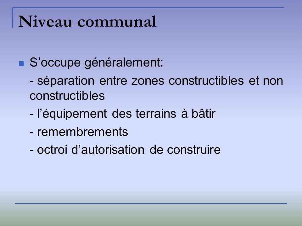 Niveau communal S'occupe généralement:
