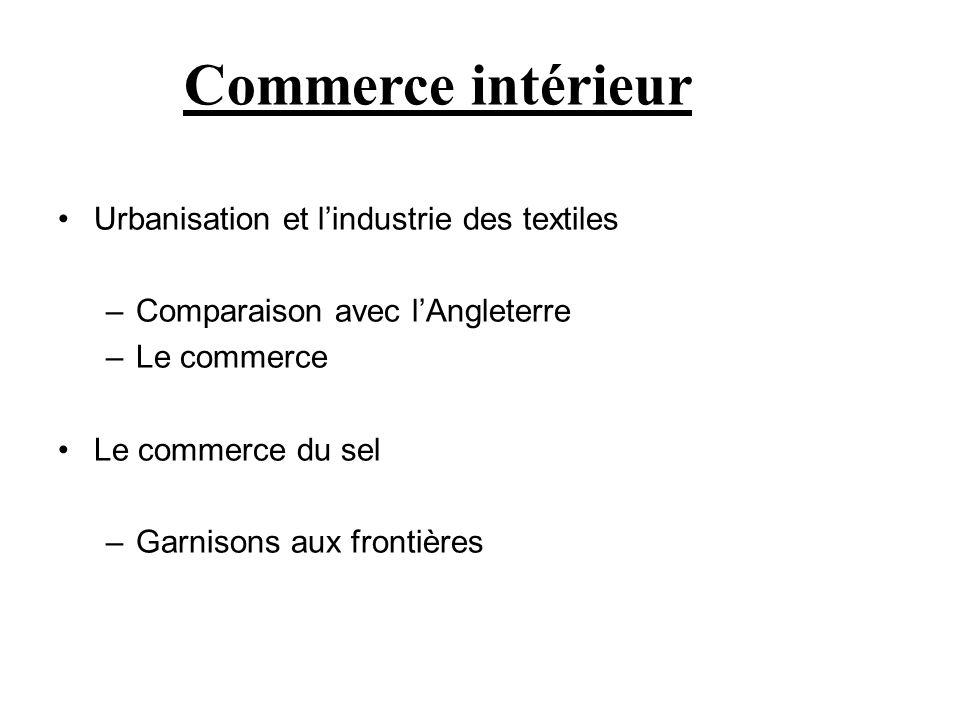 Commerce intérieur Urbanisation et l'industrie des textiles