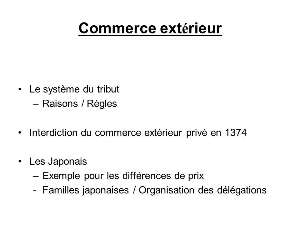 Commerce extérieur Le système du tribut Raisons / Règles