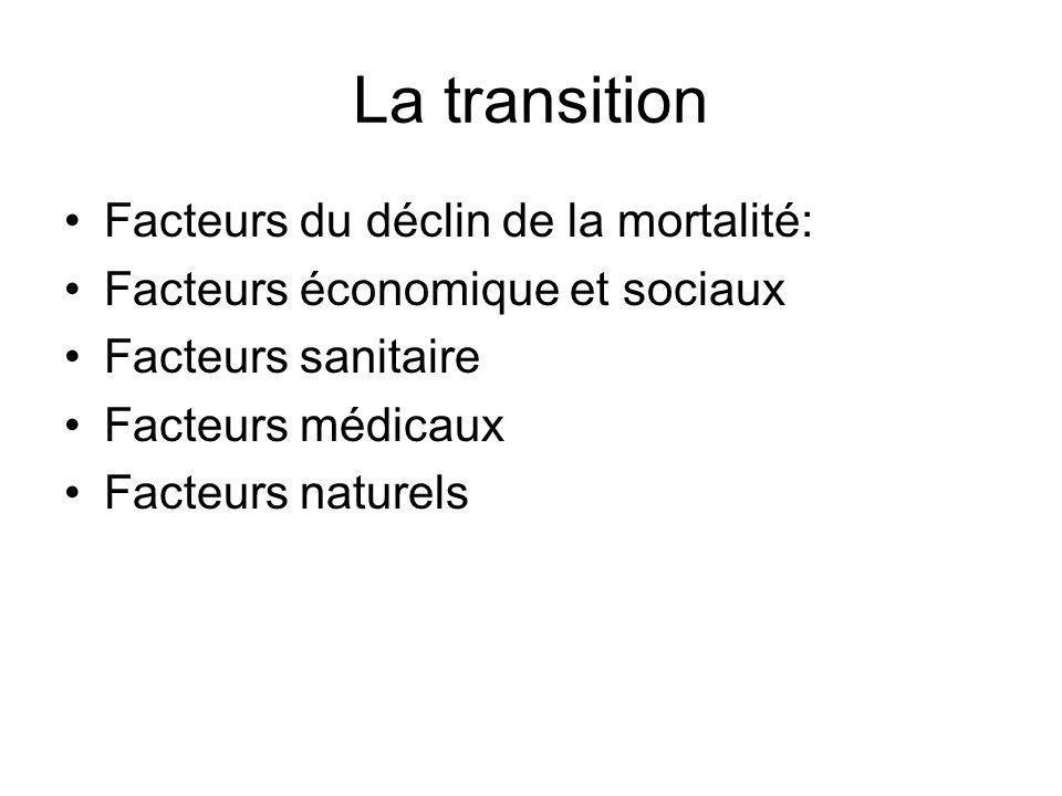 La transition Facteurs du déclin de la mortalité: