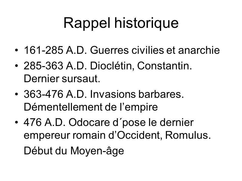 Rappel historique 161-285 A.D. Guerres civilies et anarchie